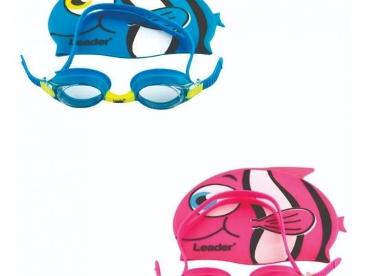 Kit de Óculos e Touca de natação Infantil Leader